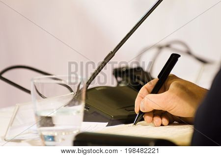 Taking Notes At A Conference, Color Image, Selective Focus, Horizontal Image