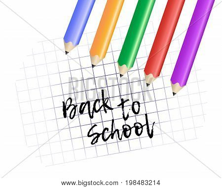 Design template Back to School. Colored pencils and exercise book with space for your text. Vector Illustration.