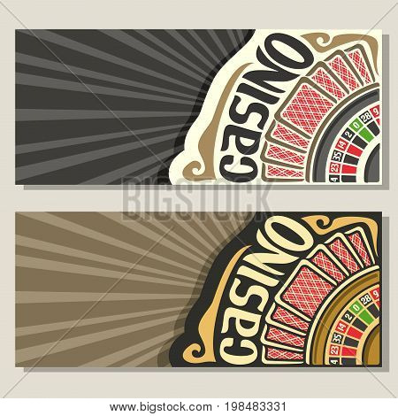 Vector gamble banners for Casino: 2 layouts invitation with roulette wheel for gambling game, red back of playing card, template flyer with grey rays of light background for title text on casino theme