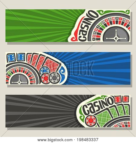 Vector set of gamble banners for Casino: 3 web headers with roulette wheel for gambling game, red backs of playing card, blue dices for craps, poker chips on green background for text on casino theme