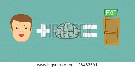 Man find a way out. face plus brain equal to exit. Stock flat vector illustration.
