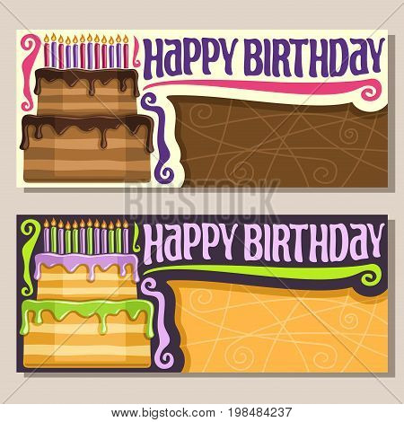 Vector greeting Cards for Happy Birthday event: vintage invitation on celebration anniversary with festive cake and 12 burning candles, layout banner with title happy birthday for congratulations text