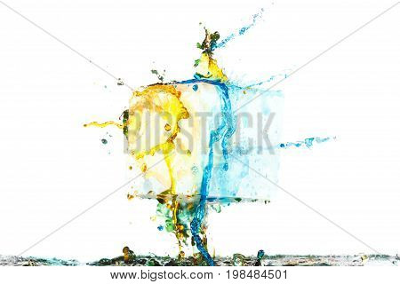 Color paint splash background liquid blue ink abstract isolated. Smoke abstract template design. Ink swirling drop in water isolated on white background.
