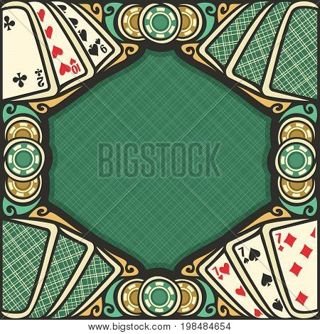 Vector poster for Blackjack gamble: frame with green background for text on black jack gambling theme, vintage blackjack table with retro playing card top view, border with gaming chips for casino.