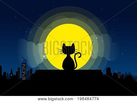Cat sitting on a roof background of the moonlight.  All in a single layer. Vector illustration. Black cat on roof with moon town and starry night in the background.
