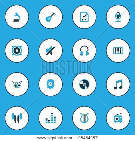 Multimedia Colorful Icons Set. Collection Of Mute, Playlist, Gramophone And Other Elements