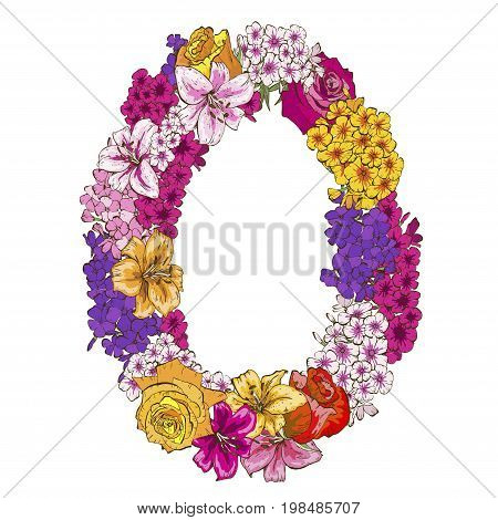 Zero digit made of different flowers. Floral element of colorful alphabet made from flowers. vector