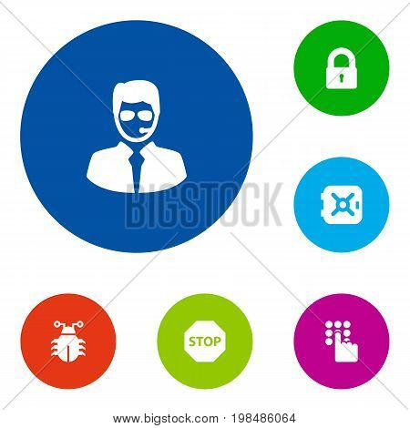 Collection Of Sign, Keypad, Virus And Other Elements.  Set Of 6 Procuring Icons Set.