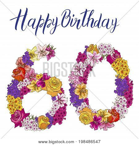 Sixty digit made of different flowers isolated on white background. Happy birthday inscription. vector