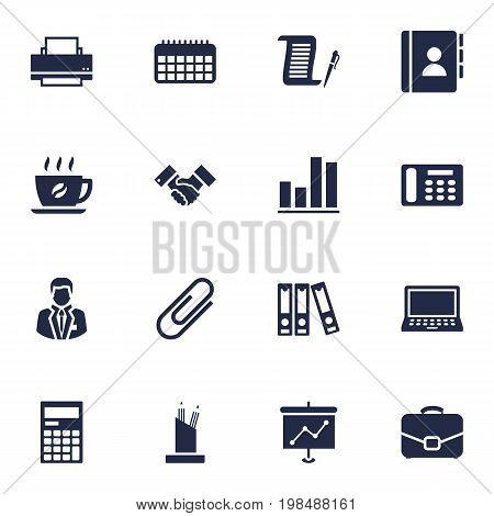 Collection Of Calendar, Diagram, Pencil Stand Elements.  Set Of 16 Bureau Icons Set.