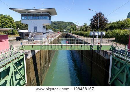 Basel, Switzerland - July 17, 2017: Birsfelden water lock with low water level
