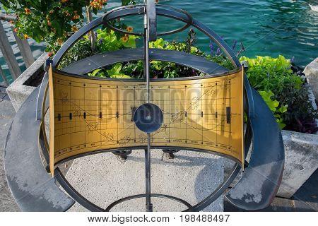 Sundial with Zodiac Signs at Geneva Lake embankment