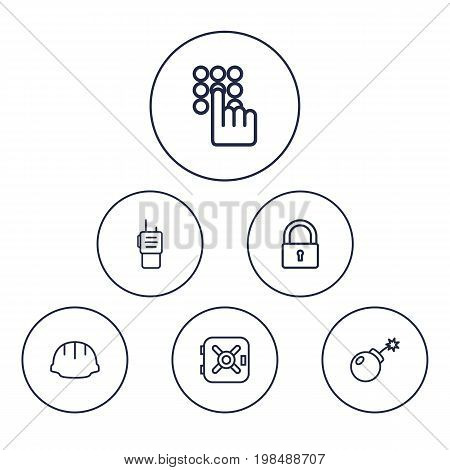 Collection Of Walkie-Talkie, Safe, Lock And Other Elements.  Set Of 6 Procuring Outline Icons Set.