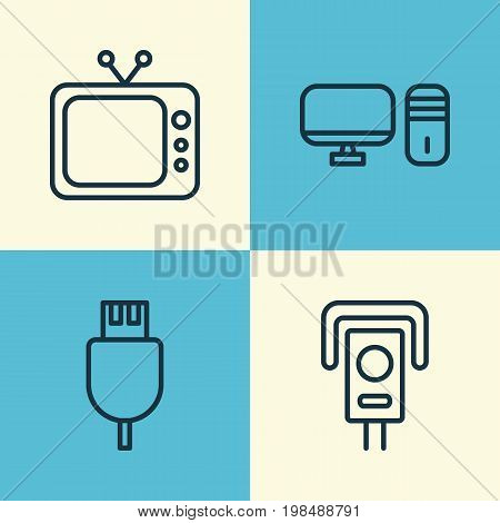 Icons Set. Collection Of Universal Serial Bus, Personal Computer, Television And Other Elements