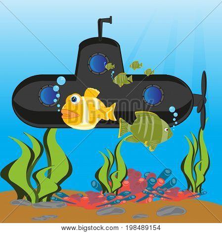 The Cartoon of the black submarine in depth of the ocean.