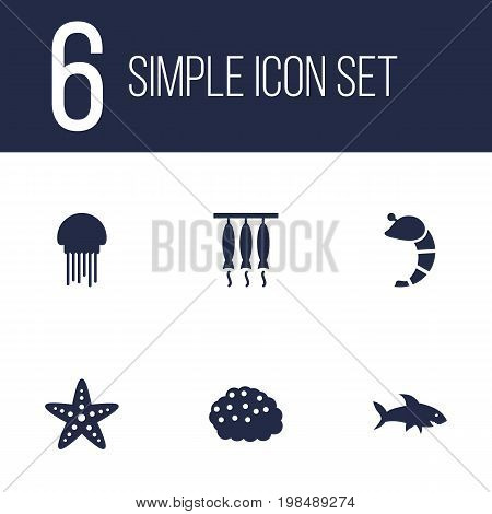 Collection Of Crustaceans, Asteroid, Smoked And Other Elements.  Set Of 6 Seafood Icons Set.