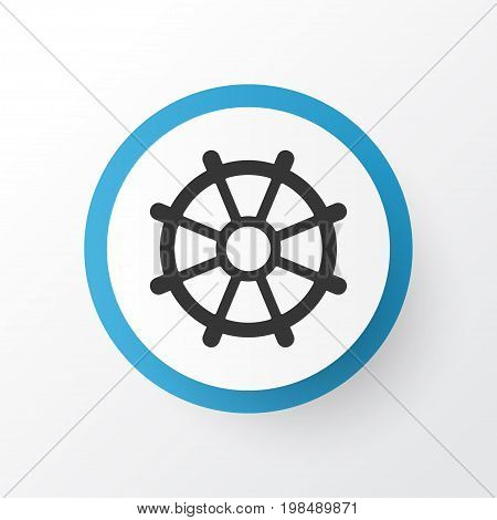 Premium Quality Isolated Boat Helm Element In Trendy Style.  Rudder Icon Symbol.