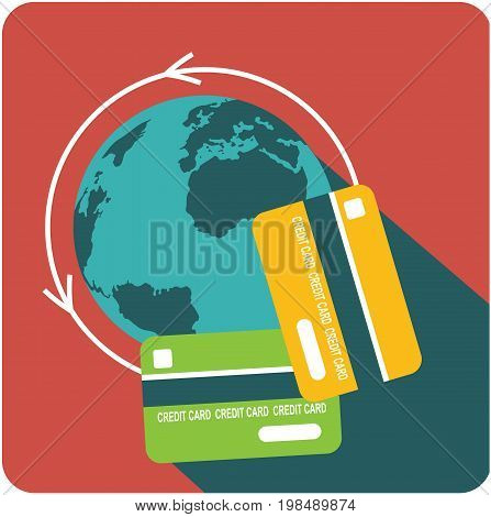 Vector business sign square shape icon contributions savings use of credit cards around the world