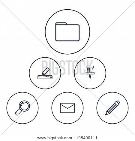 Collection Of Zoom Glasses, Portfolio, Pushpin And Other Elements.  Set Of 6 Stationery Outline Icons Set.