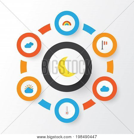 Air Flat Icons Set. Collection Of Moon, Overcast, Sunny And Other Elements