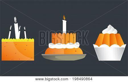 Vector image of celebratory baking, cupcakes, cakes