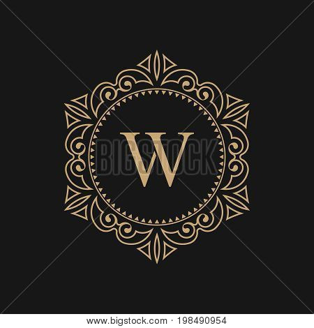 The monogram the letter W in an elegant frame. A golden template for cafe bars boutiques invitations. A logo for business. Vintage elements of design. Vector illustration.