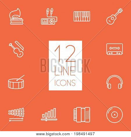 Collection Of Turntable, Record, Harmonica And Other Elements.  Set Of 12 Melody Outline Icons Set.
