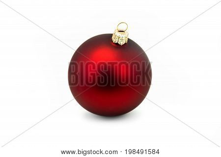 Red Christmas Bauble On White close up of christmas decoration isolated