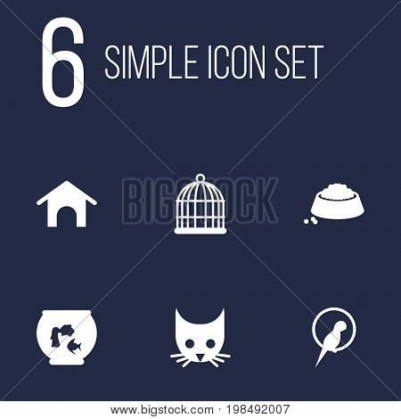 Collection Of Birdcage, Fishbowl, Bird And Other Elements.  Set Of 6 Mammal Icons Set.