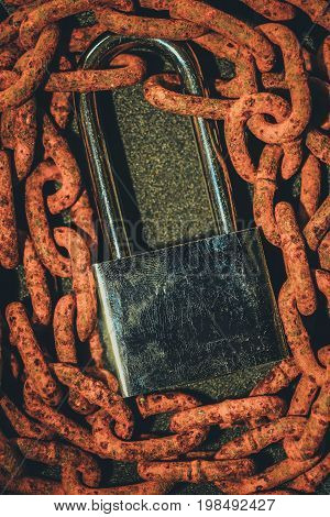 Close up brown rustic chain grunge background