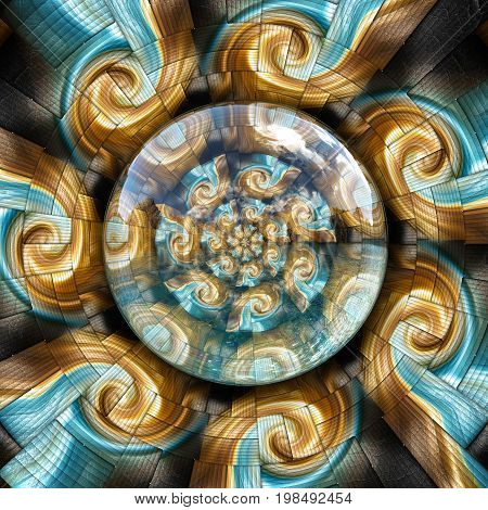 3D rendering combo artwork with fractal and fractal mill buttons