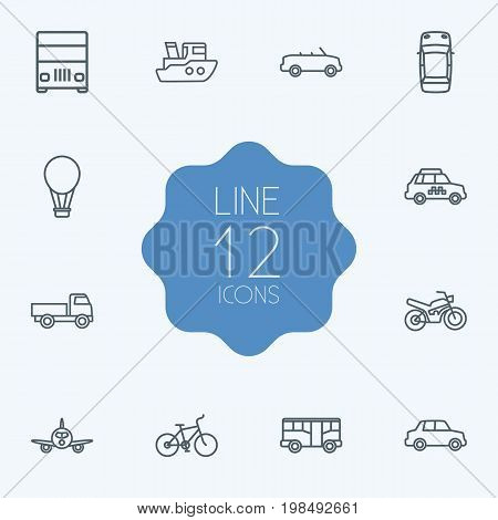 Collection Of Car, Ship, Lorry And Other Elements.  Set Of 12 Shipping Outline Icons Set.