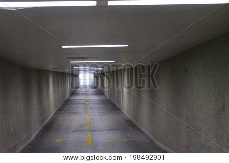 underpass in europe nobody to see with lights on