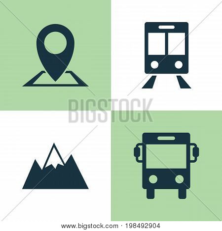 Traveling Icons Set. Collection Of Location, Railway Carriage, Transport And Other Elements