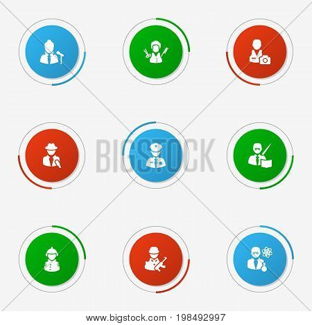 Collection Of Scholarly, Leaner, Journalist And Other Elements.  Set Of 9 Job Icons Set.