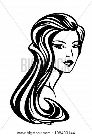 beautiful woman with long gorgeous hair - black and white vector portrait design