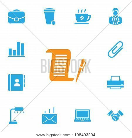 Collection Of Mail, Manager, Address Book And Other Elements.  Set Of 13 Cabinet Icons Set.