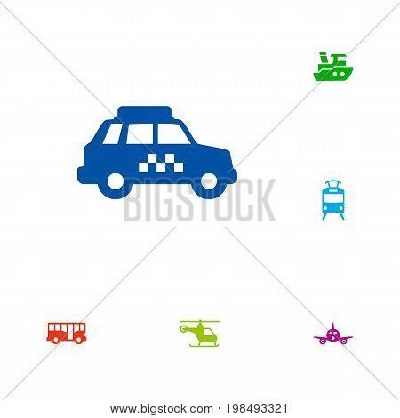 Collection Of Autobus, Copter, Taxicab And Other Elements.  Set Of 6 Shipping Icons Set.