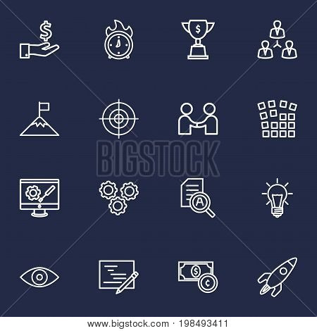 Collection Of Eye, Deadline, Teamwork And Other Elements.  Set Of 16 Strategy Outline Icons Set.