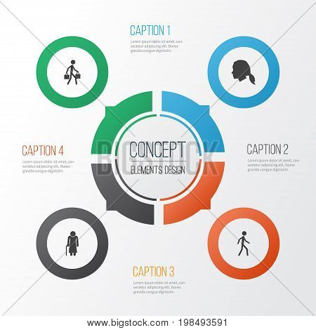 Person Icons Set. Collection Of Old Woman, Gentlewoman Head, Jogging And Other Elements