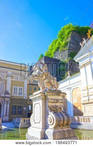 Salzburg, Austria - May 01, 2017: The Horsepond at the Herbert von Karajan Platz in Salzburg, Austria on May 01, 2017