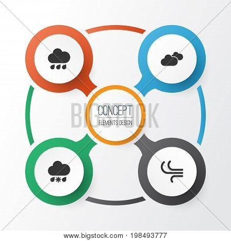 Air Icons Set. Collection Of Breeze, Rainy, Weather And Other Elements