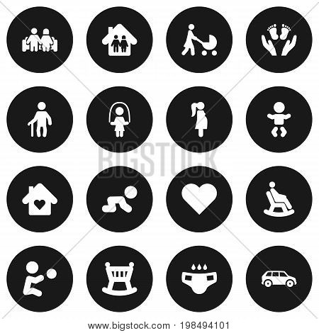 Collection Of Girl, Automobile, Rocking Chair And Other Elements.  Set Of 16 Relatives Icons Set.