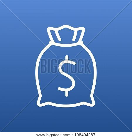 Vector Moneybag Element In Trendy Style.  Isolated Sack Outline Symbol On Clean Background.