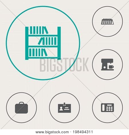 Collection Of Phone, Data, Book And Other Elements.  Set Of 6 Bureau Icons Set.