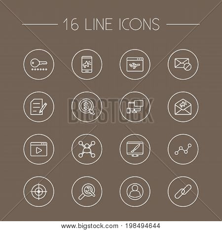 Collection Of Advertising, Stock Exchange, Goal And Other Elements.  Set Of 16 Search Outline Icons Set.
