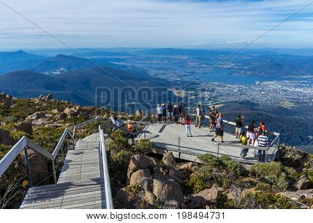Mount Wellington summit viewing platform overlooking city of Hobart