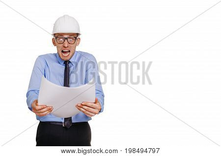 Architect engineer is horrified by the blueprint. Isolated on white.