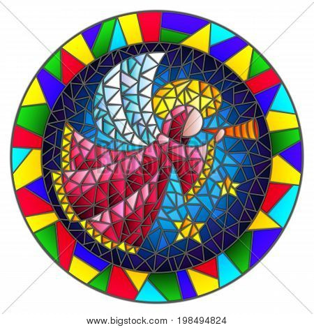 Illustration in stained glass style with an abstract angel in pink robe blowing pipe round picture frame in bright