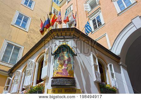 Salzburg, Austria - May 01, 2017: The Zum Eulenspiegel bar and restaurant at old town in Salzburg, Austria on May 01, 2017.